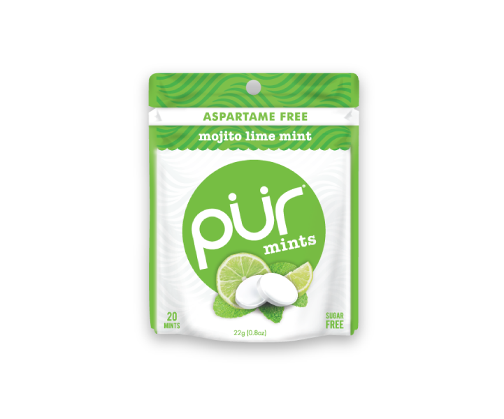 Single Mint Pouches, Mojito Lime Mint, , The PUR Company, PUR Gum, aspartame free gum, sugar free gum, pack of gum, packs of gum, chewing gum, natural gum, xylitol gum - 2
