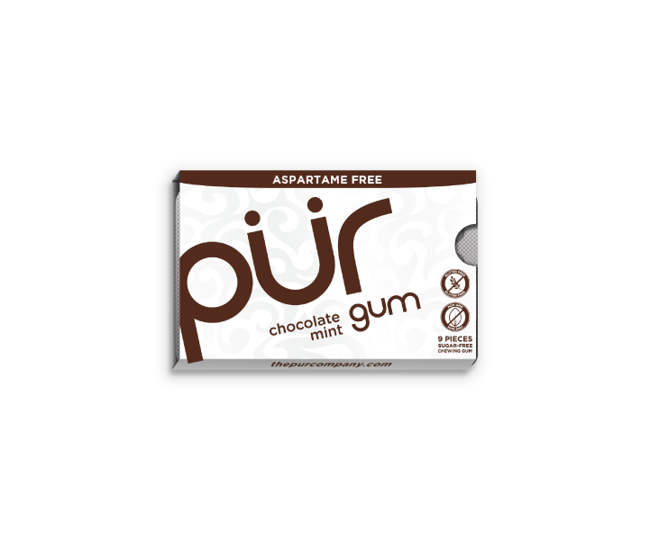 Single Gum Packs, Chocolate Mint, , The PUR Company, PUR Gum, aspartame free gum, sugar free gum, pack of gum, packs of gum, chewing gum, natural gum, xylitol gum - 8