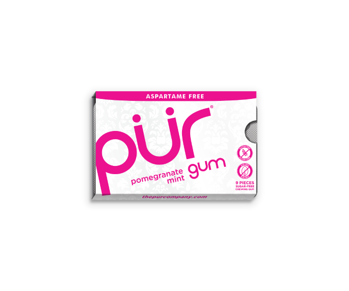 Single Gum Packs, Pomegranate Mint, , The PUR Company, PUR Gum, aspartame free gum, sugar free gum, pack of gum, packs of gum, chewing gum, natural gum, xylitol gum - 6