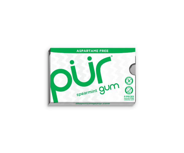 Single Gum Packs, Spearmint, , The PUR Company, PUR Gum, aspartame free gum, sugar free gum, pack of gum, packs of gum, chewing gum, natural gum, xylitol gum - 1
