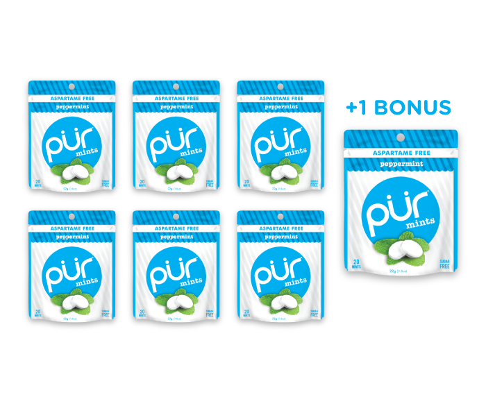 6 Mint Pouches + 1 Bonus Pouch, Peppermint, , The PUR Company, PUR Gum, aspartame free gum, sugar free gum, pack of gum, packs of gum, chewing gum, natural gum, xylitol gum - 4