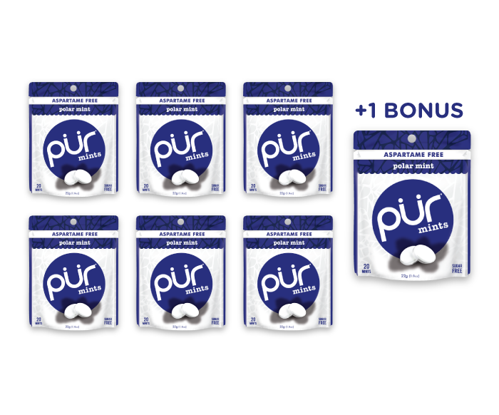 6 Mint Pouches + 1 Bonus Pouch, Polar Mint, , The PUR Company, PUR Gum, aspartame free gum, sugar free gum, pack of gum, packs of gum, chewing gum, natural gum, xylitol gum - 5