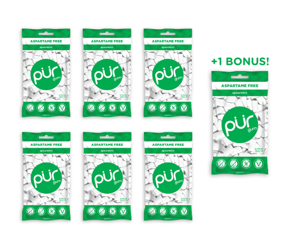 6  Bags + 1 Bonus Bag, Spearmint, , The PUR Company, PUR Gum, aspartame free gum, sugar free gum, pack of gum, packs of gum, chewing gum, natural gum, xylitol gum - 1