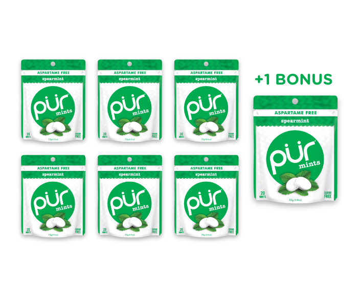 6 Mint Pouches + 1 Bonus Pouch, Spearmint, , The PUR Company, PUR Gum, aspartame free gum, sugar free gum, pack of gum, packs of gum, chewing gum, natural gum, xylitol gum - 1