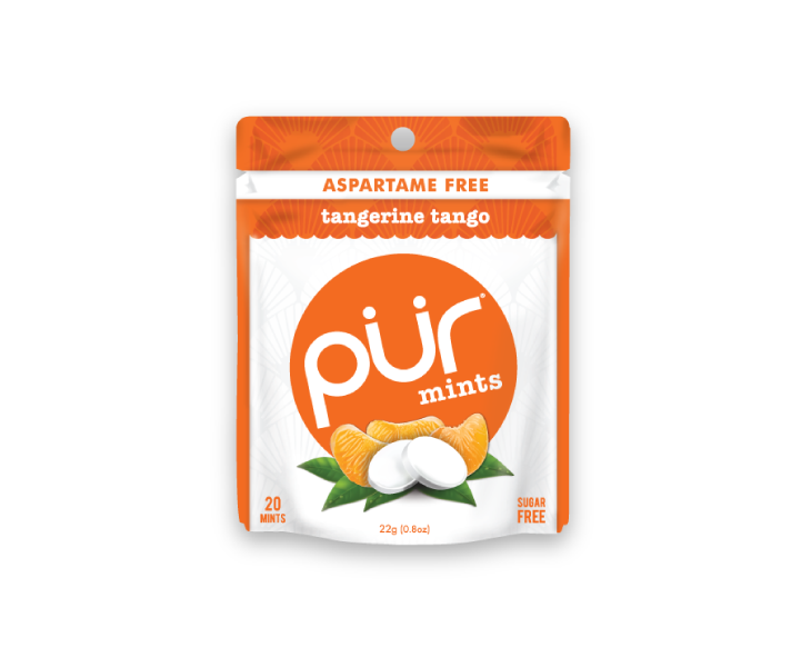 Single Mint Pouches, Tangerine Tango, , The PUR Company, PUR Gum, aspartame free gum, sugar free gum, pack of gum, packs of gum, chewing gum, natural gum, xylitol gum - 3