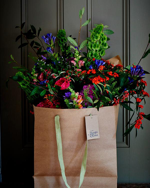 Scarlet and Violet big hand tied posy in bag