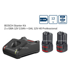 Bosch Starter Kit 12V Lithium Batteries and Charger (For GSR 120, GSB 120 & GDR 120)