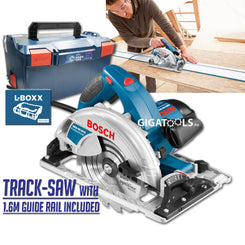 Bosch GKS 65 GCE Professional Hand-Held Circular Saw / Track Saw with FSN 1600 1.6m Guide Rail System  (1,800W)