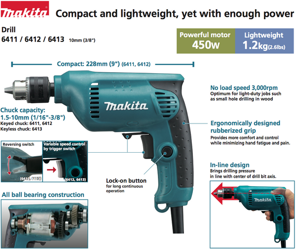 Makita 6412 3 8 Quot Hand Drill 10mm 3000rpm 1 2kg 450w