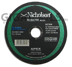 "Nicholson 4"" Cutting Disc, for stainless steel, super thin - GIGATOOLS.PH"