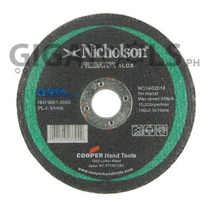 "Nicholson 4"" Cutting Disc, for Steel - GIGATOOLS.PH"