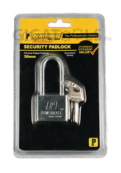 Powerhouse Tools Chrome Plated (Long Shackle) Padlock 30mm