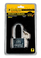 Powerhouse Tools Chrome Plated (Long Shackle) Padlock 40mm
