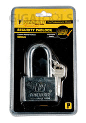 Powerhouse Tools Chrome Plated (Long Shackle) Padlock 50mm