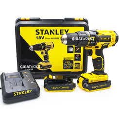 New Stanley SCH20C2K 13mm Cordlesss Hammer / Impact Drill Driver 18V Kit Set