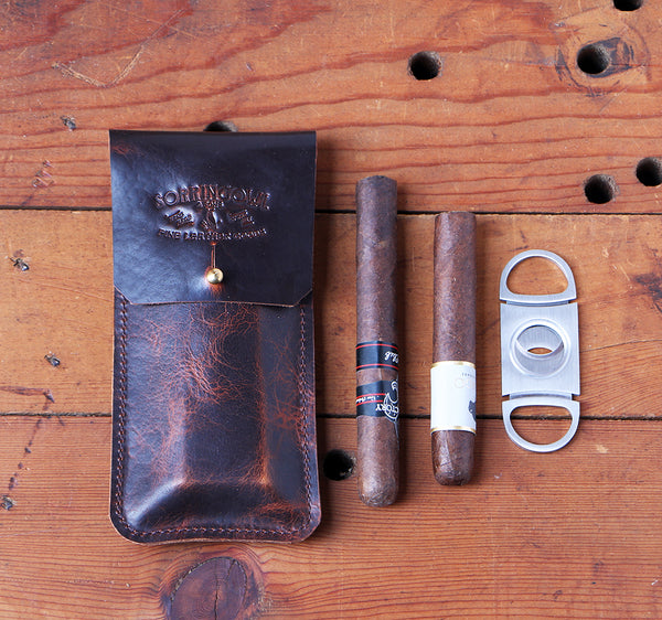 The Coburn Cigar Case ~ Bark Brown, American Bison Leather - SORRINGOWL & SONS ~ Est. 2011