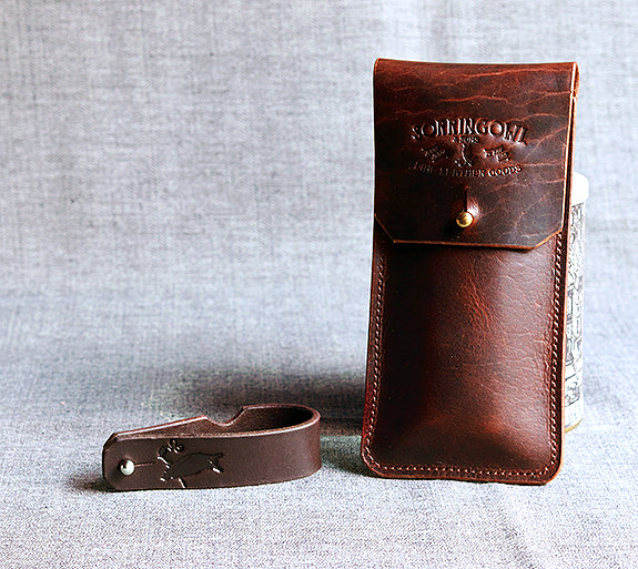 The Coburn Cigar Case ~ Bark Brown, American Bison Leather