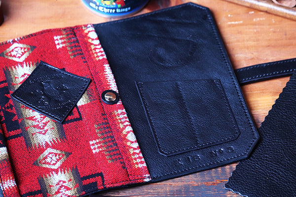 Ltd. Ed. Christmas Signature Deluxe Pipe Pouch #4 ~ Signature Gift Set ~ Black Leather / Red Pendleton Wool / Nickel--Sold Out!