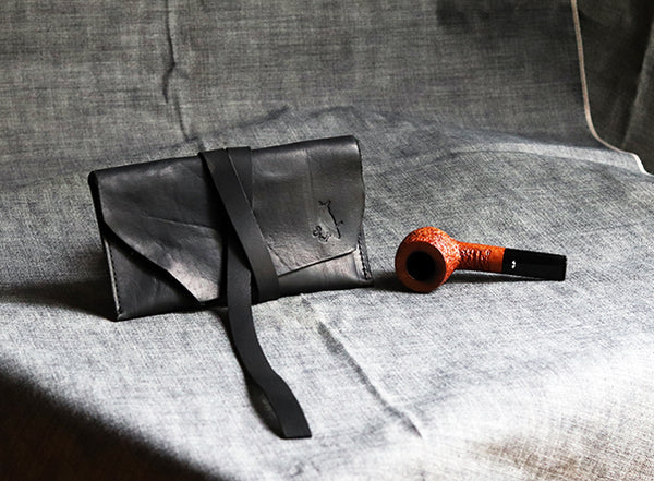 The Gent Leather Pipe Pouch Raw Edge ~ Horween Essex Black