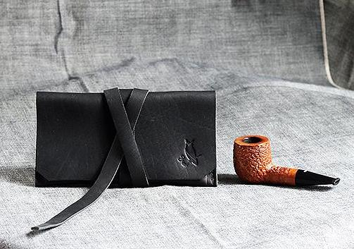 The Gent Leather Pipe Pouch ~ Horween Essex Black Leather