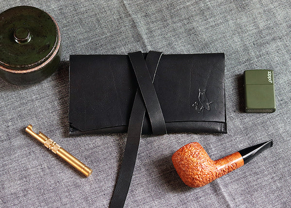 The Gent Leather Pipe Pouch Raw Edge ~ Horween Essex Black Leather