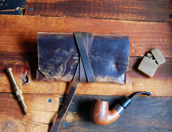 The Gent Pipe Pouch ~ Rusticated Bark Brown Leather - Sold Out! - SORRINGOWL & SONS ~ Est. 2011