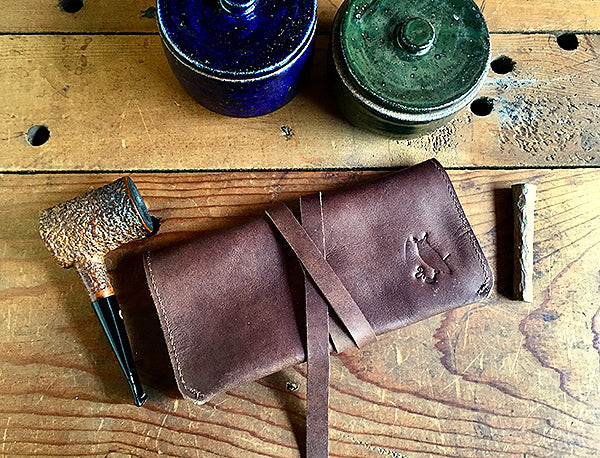 The Pioneer Pipe Roll ~ Ranch Hand Brown Horween Leather & Copper rivets - Sold Out!