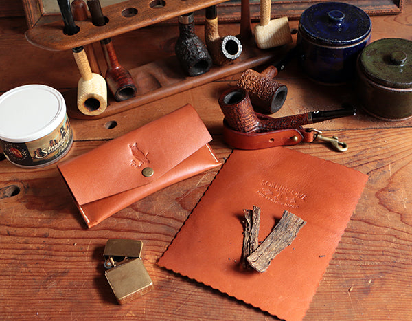 Signature Pipe Pouch ~ Signature Gift Set ~ British Tan Calfskin Leather
