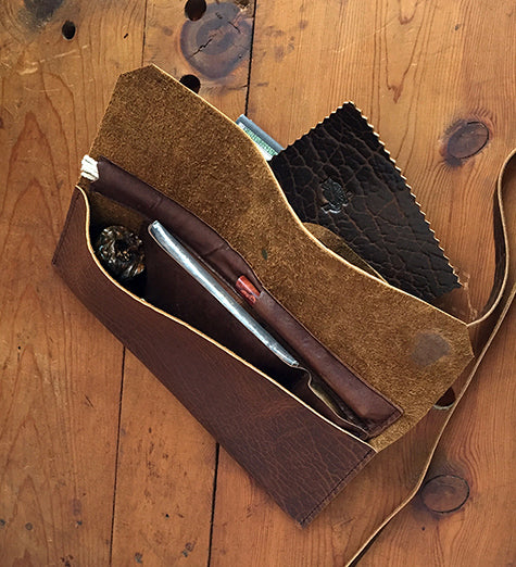 The Taverner - Churchwarden Pipe Pouch ~ Whiskey Bison Leather - Out of Stock