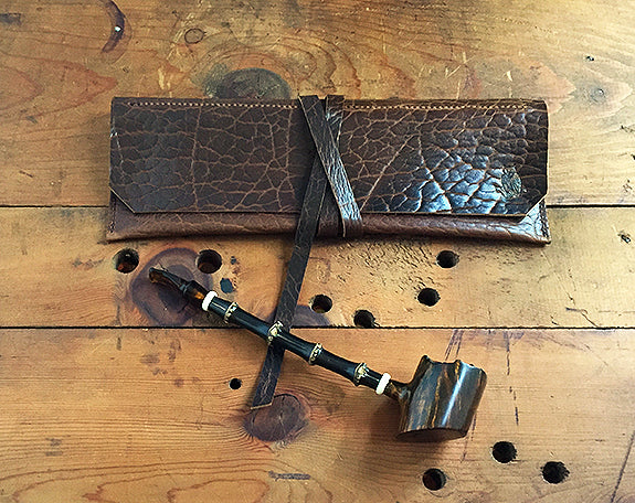 The Taverner - Churchwarden Pipe Pouch ~ Whiskey Bison Leather