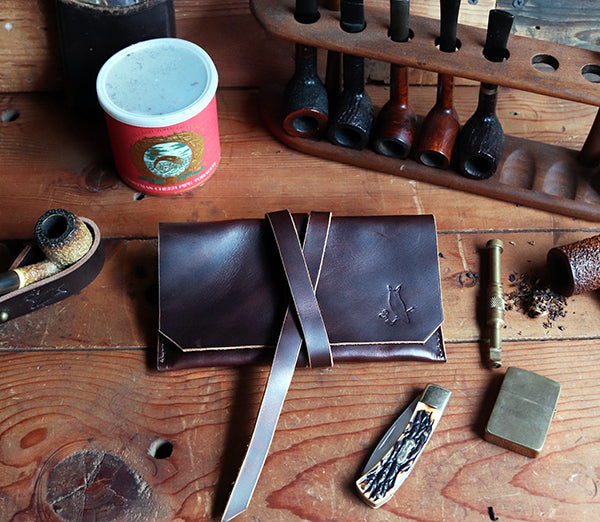 The Gent Leather Pipe Pouch ~ Dark Coffee
