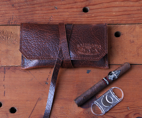 The Laredo Cigar Pouch ~ Whiskey Bison Leather - SORRINGOWL & SONS ~ Est. 2011