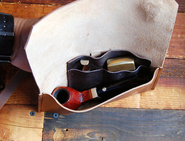 The Gent Pipe Pouch ~ Crazyhorse Brown Leather - Spring Cleaning Sale! - SORRINGOWL & SONS ~ Est. 2011