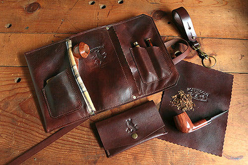 Signature Pipe Pouch ~ Signature Gift Set ~ Hand Dyed Brown Leather & Antique Brass - SORRINGOWL & SONS ~ Est. 2011