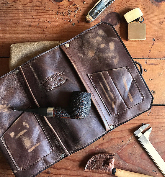The Original Standard Pipe Pouch ~ Brown Rusticated Leather - SORRINGOWL & SONS ~ Est. 2011