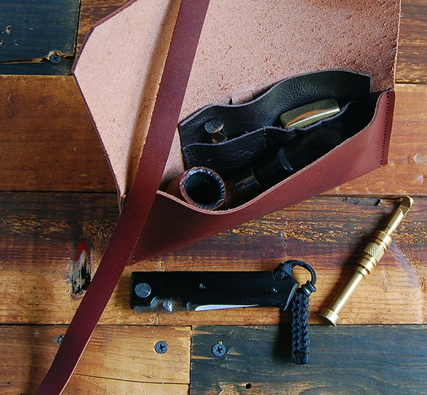 The Gent Pipe Pouch ~ Mahogany Leather - SORRINGOWL & SONS ~ Est. 2011