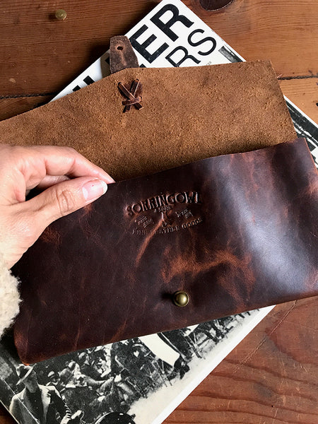 Marlowe Clutch ~ Bark Brown, Oil Tanned Leather - just 1 left! - SORRINGOWL & SONS ~ Est. 2011