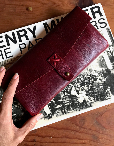 Marlowe Clutch ~ Dark Rose, Bison Leather - Out of Stock - SORRINGOWL & SONS ~ Est. 2011