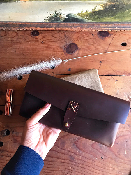 Marlowe Clutch ~ Merlot, Oil Tanned Leather - just 1 left! - SORRINGOWL & SONS ~ Est. 2011
