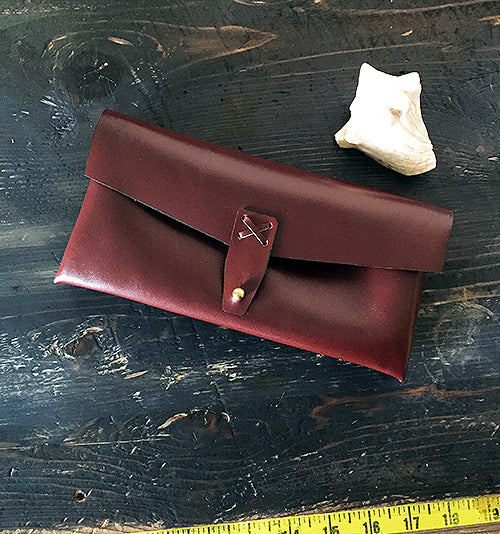 Marlowe Clutch ~ Port, French Calfskin Leather