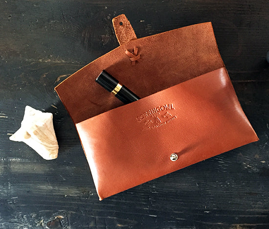 Marlowe Clutch ~ Tan, French Calfskin Leather