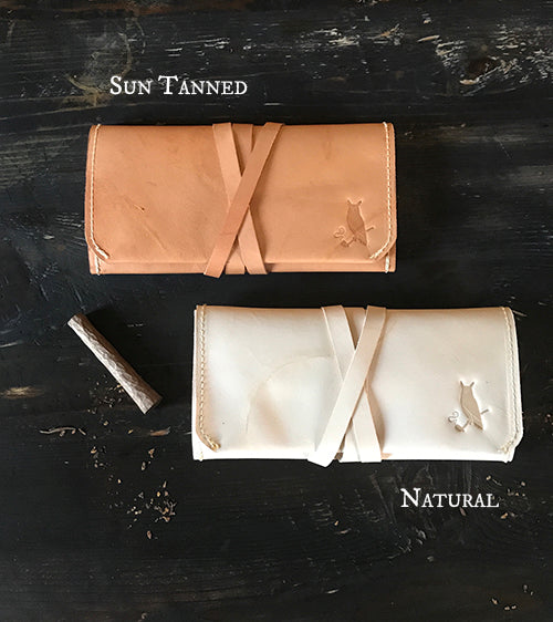 The Pioneer Pipe Roll ~ Natural, Veg Tan Leather & Copper rivets