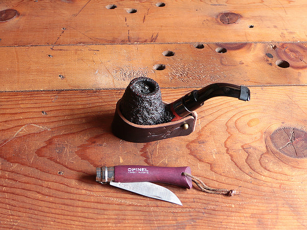 The Original Pipe & Cigar Rest ~ Brown Buffalo or Black Latigo leather - SORRINGOWL & SONS ~ Est. 2011