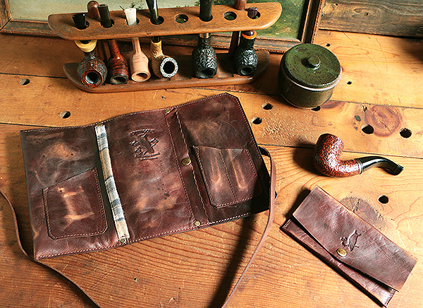 Signature Pipe Pouch ~ Signature Gift Set ~ Rusticated, Brown Leather - SORRINGOWL & SONS ~ Est. 2011