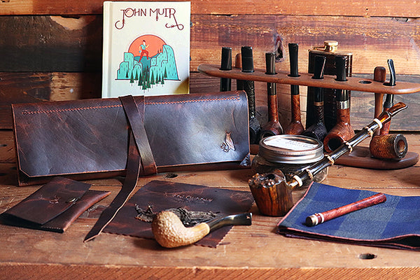 Churchwarden Pipe Pouch ~ The Taverner - Bark Brown Bison Leather