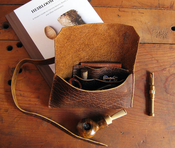 The Gent Pipe Pouch ~ Whiskey Bison Leather - SORRINGOWL & SONS ~ Est. 2011