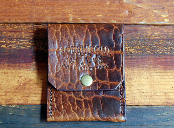 The Henry Slim Wallet, Hand Stitched ~ Whisky Bison Leather - SORRINGOWL & SONS ~ Est. 2011
