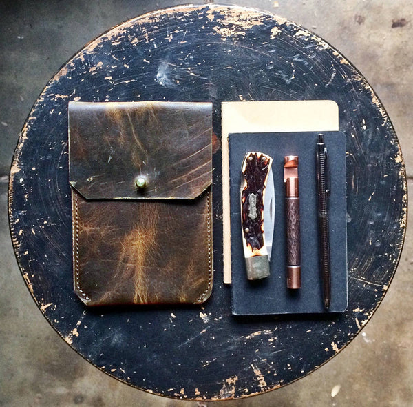 EDC Wallet - Leather Notebook Sleeve ~ Bark Brown, American Bison Leather - SORRINGOWL & SONS ~ Est. 2011