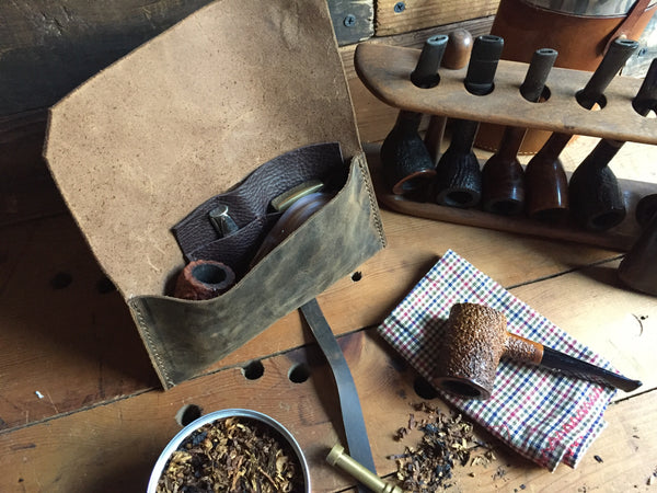 The Gent Pipe Pouch ~ Crazyhorse Brown Leather - 2 left in Stock!