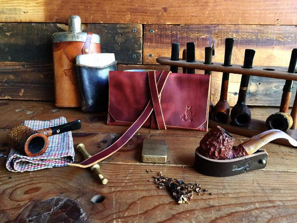 The Gent Pipe Pouch ~ Deep Red, Oil Tanned Leather - Only 1 Left in Stock!